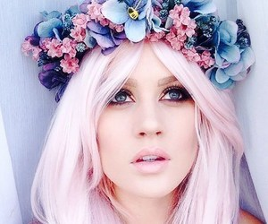 hair, flowers, and flower crown image