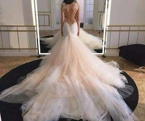 dress, wedding, and beauty image