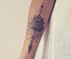 flower, ink, and lotus image