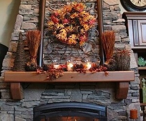 autumn, fireplace, and leaves image