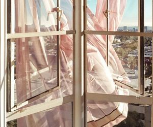 curtain, pink, and window image