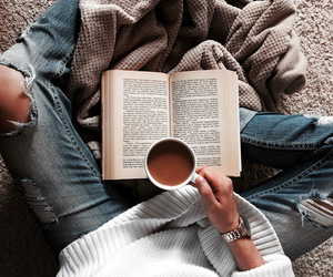 autumn, coffee, and book image