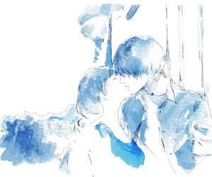 青い, 水彩, and 青 image
