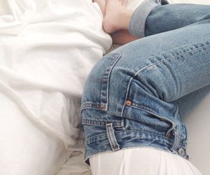 jeans, white, and bed image