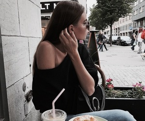 girl, black and white, and cafe image