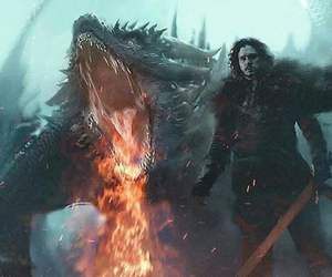 game of thrones, dragon, and jon snow image