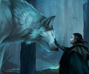 arya stark, wolf, and game of thrones image