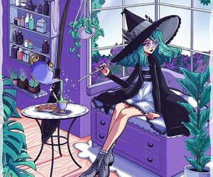 art, witch, and tea image