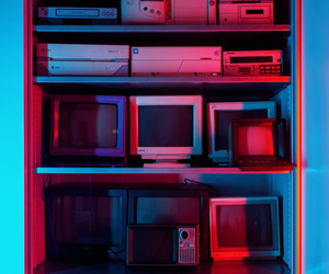 aesthetic, red, and blue image