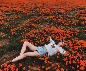 flowers, girl, and nature image