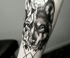 tattoo, arm, and wolf image