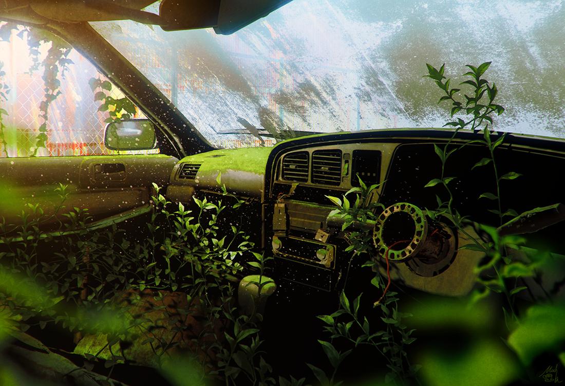 art, car, and desolation image