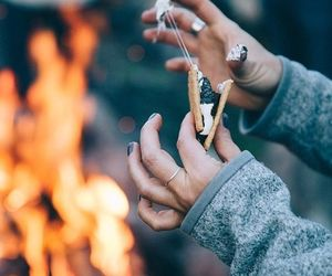 smores, fire, and autumn image