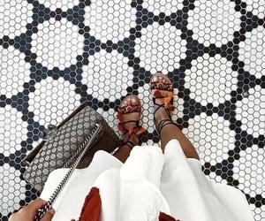 bag, dress, and floor image