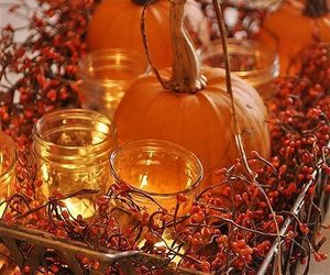 autumn, candles, and pumpkins image
