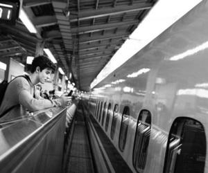 backpack, earphones, and metro image