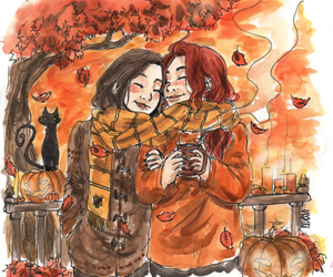 autumn, friends, and art image
