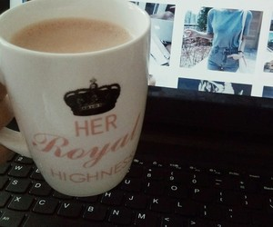 chilling, coffee, and laptop image