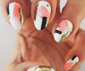 nail art, gold, and nails image