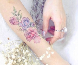 flowers, arm, and girl image