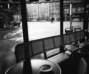 cafe, black and white, and paris image