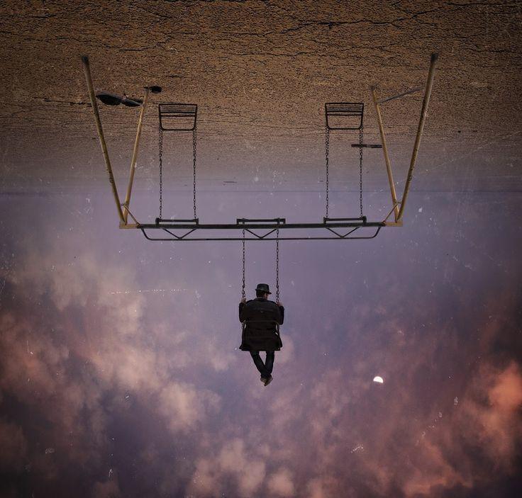 sky, swing, and man image