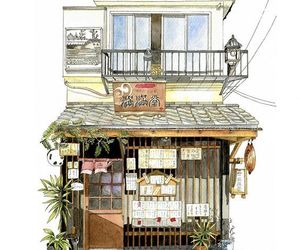 drawing, japan, and shop image