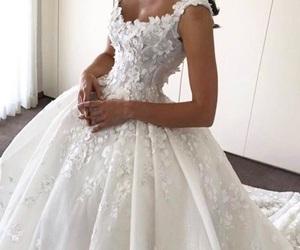 wedding dress, beautiful, and dress image