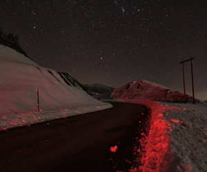 red, snow, and stars image
