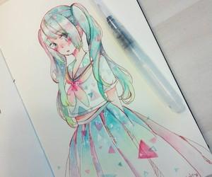 anime girl, art, and crying image