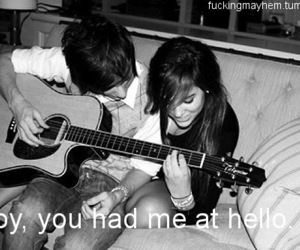 black and white, guitar, and love image