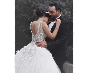 bride and groom, couple, and dress image