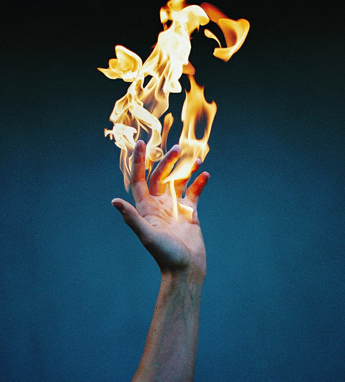 fire, hand, and aesthetic image
