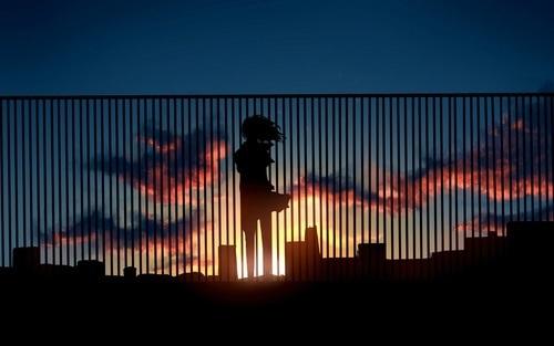 anime, sunset, and anime girl image