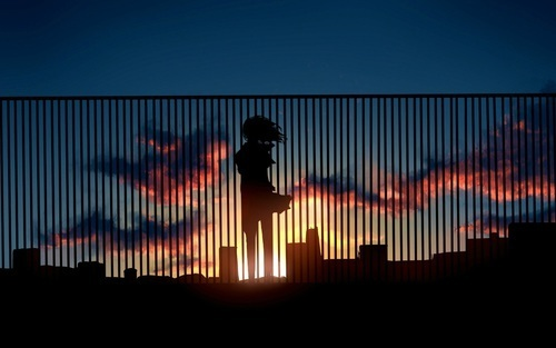 anime, sunset, and sky image