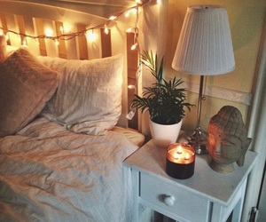 bed, lights, and bedroom image