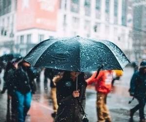 snow, rain, and umbrella image