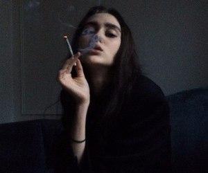 black, cigarette, and girl image