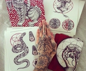 tattoo, drawing, and hand image