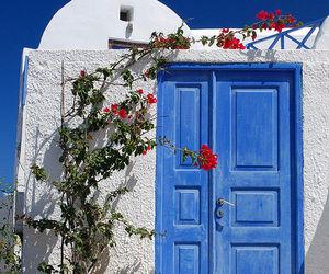 door, blue, and Greece image