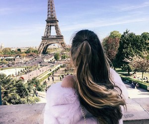 girl, eiffel tower, and hairs image