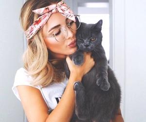 girl, cat, and animal image