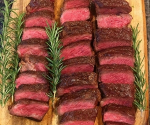 food, red, and steak image