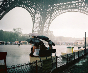 paris, rain, and eiffel tower image