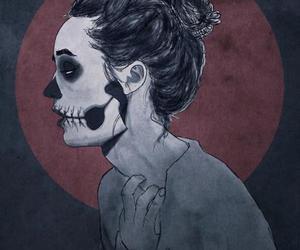 girl, skull, and drawing image