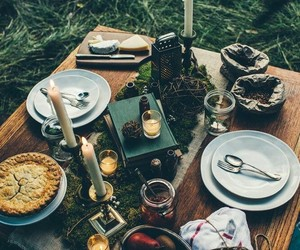 food, picnic, and candles image