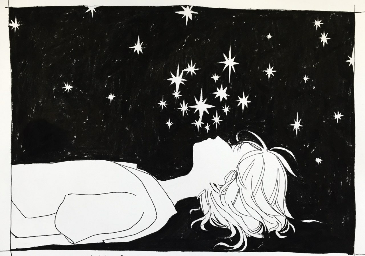 stars, art, and black and white image