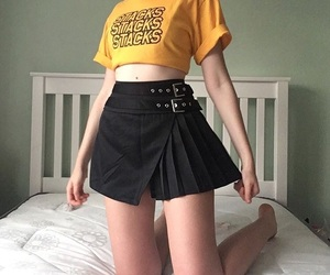 girl, black, and yellow image