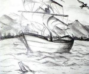 art, beach, and boat image