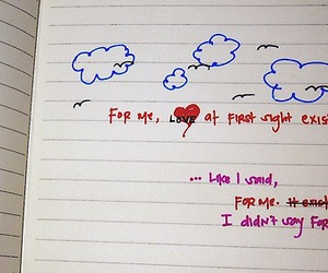 clouds, drawings, and notebook image